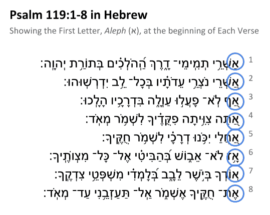 Psalm 119:1-8 in  Hebrew